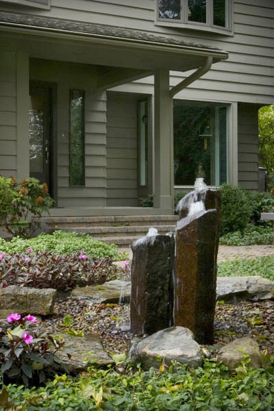 Front yard water feature- basalt columns