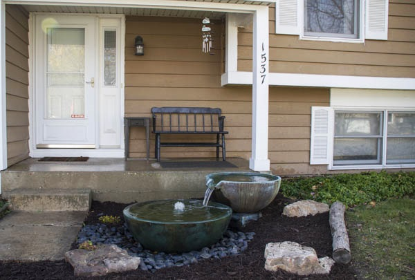 Front yard water feature--tipping bowls
