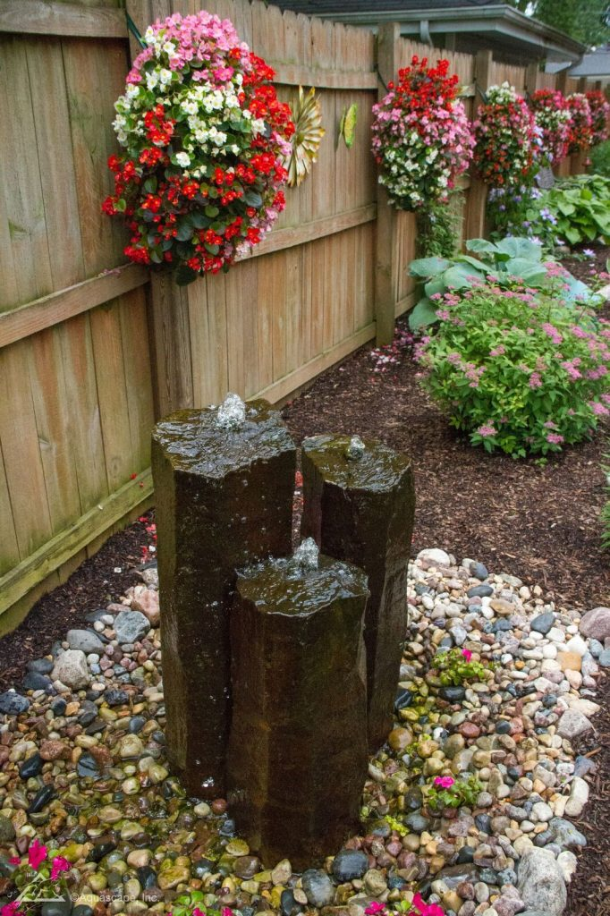 Bucks County Fountain Installation Triple Basalt Columns