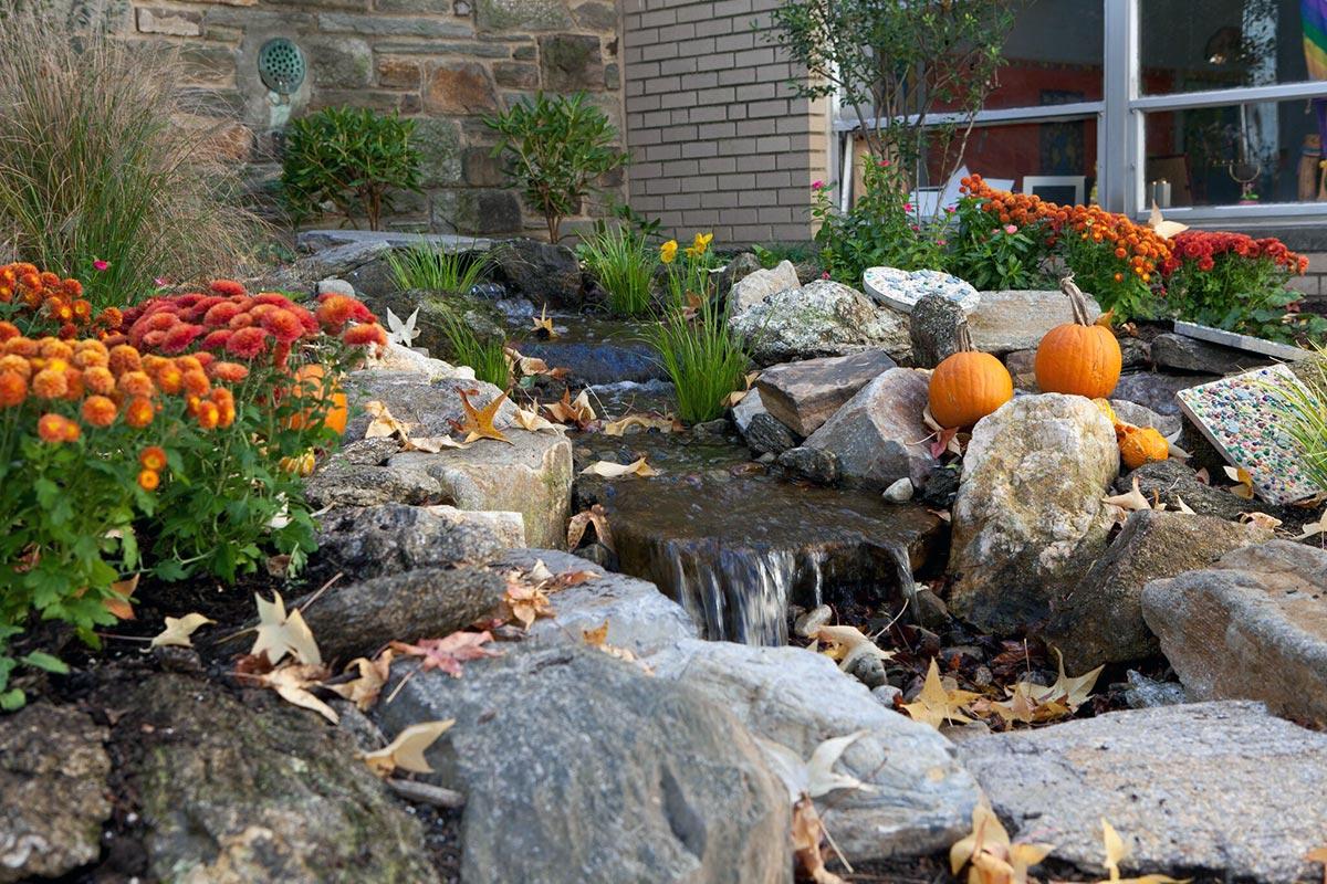 Fall Season Pond Waterfall