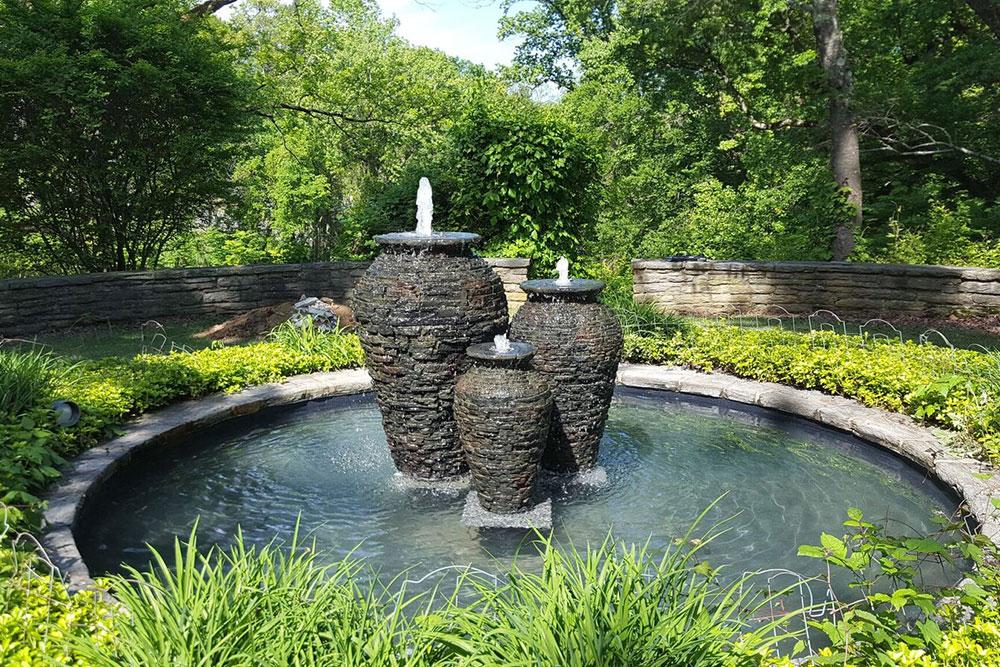 Triple slate fountain urns