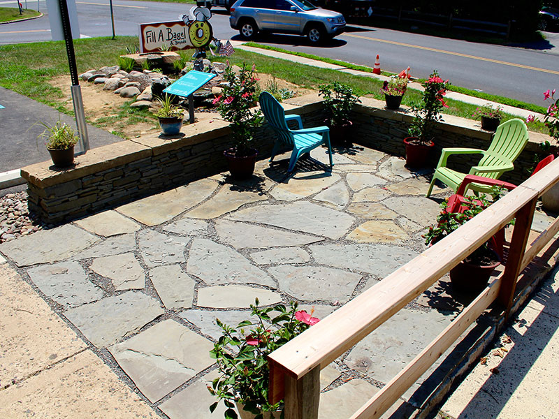 Flagstone patio build at Fill a Bagel