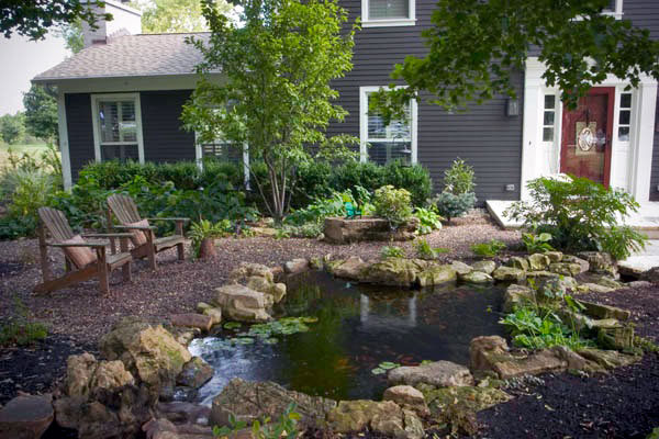 Koi pond and waterfall in front yard
