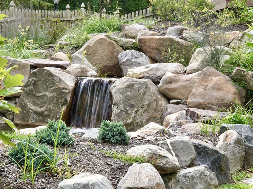 Natural yard pond waterfall